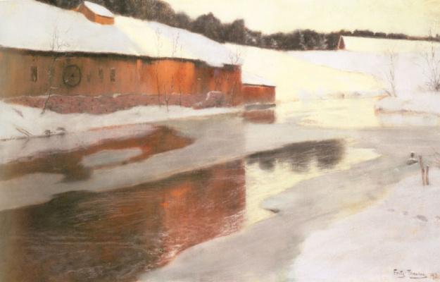 Frits Thaulow. The factory building next to frozen river