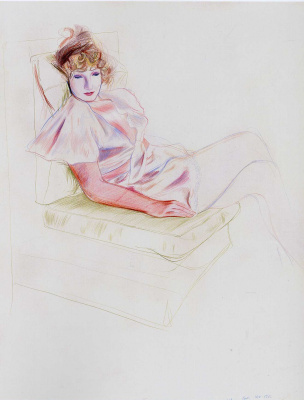 David Hockney. Celia in Negligee