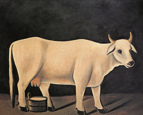 Niko Pirosmani (Pirosmanashvili). White cow on a black background