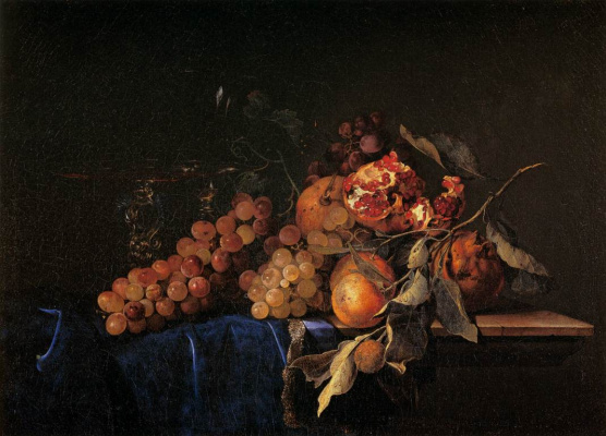 Willem van Aelst. Still life with fruit and grapes
