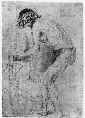Rembrandt Harmenszoon van Rijn. Nude artist's model, leaning forward