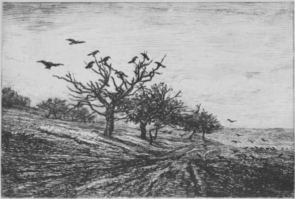 Charles-Francois Daubigny. Tree with crows