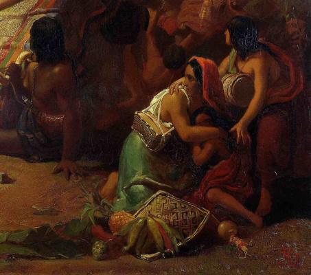 John Everett Millais. Pizarro take prisoner Inca Peruvian. Fragment