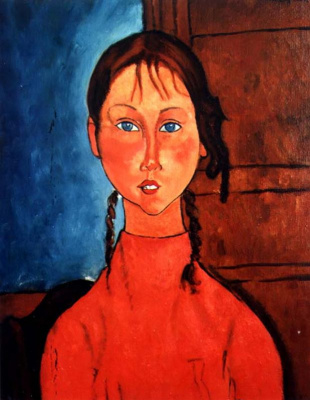 Amedeo Modigliani. The girl with pigtails in a red sweater
