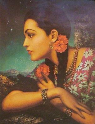 Хесус Эльгера Аусенсиа. Девушка с цветком в волосах
