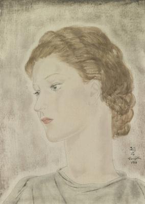 Zuguharu Fujita (Léonard Fujita). Portrait De Jeune Femme Aux Yeux Clairs