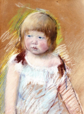 Mary Cassatt. Child with bangs in a blue dress