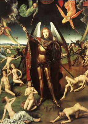Hans Memling. Judgment. Triptych. The Central part of the judging Christ, surrounded by apostles and angels, and the Archangel Michael. Fragment