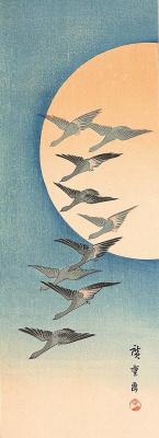 Утагава Хиросигэ. Летящие гуси на фоне луны