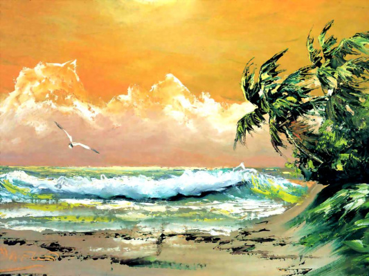 Сильвестр Уэллс. Чайка над волнами