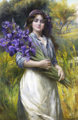 Norman Prescott Davis. Girl with flowers