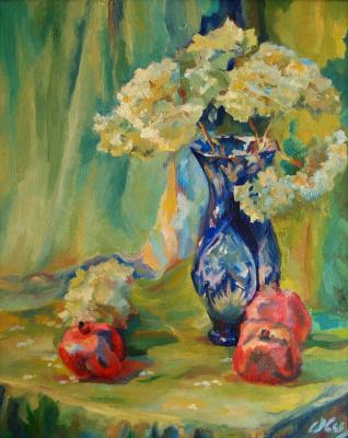 Olga Shabla. Still life with hydrangeas (oil on canvas, 40x50 cm, 2015)
