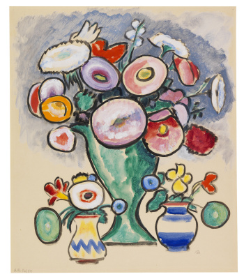 Gabriele Münter. Still life with three bouquets