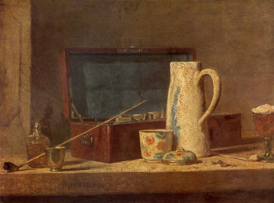 Jean Baptiste Simeon Chardin. Still life with pipe and jug