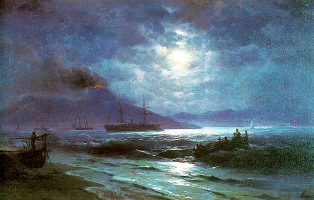 Ivan Aivazovsky. Neapolitan Bay in lunar night