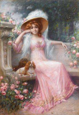 An elegant lady with her boyfriend, King Charles Spaniel.