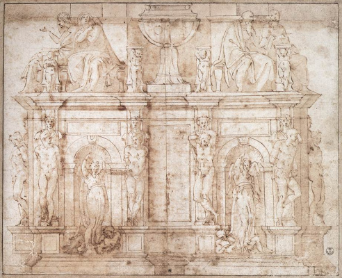 Michelangelo Buonarroti. Sketch of the tomb of Pope Julius II
