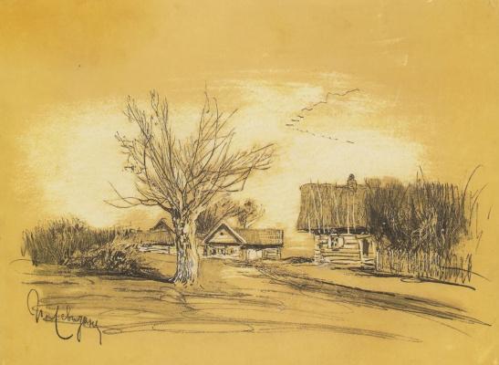 Isaac Levitan. Spring in the village (Savvinskaya Sloboda near Zvenigorod)