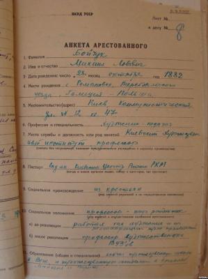 Михаил Львович Бойчук. Анкета арестованого М. Бойчука