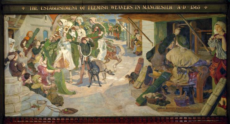 Форд Мэдокс Браун. Учреждение фламандских ткачей в Манчестере в 1363 году. Фреска мурала здания Манчестерской ратуши
