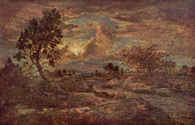 Theodore Rousseau. Sunset in Arbonne