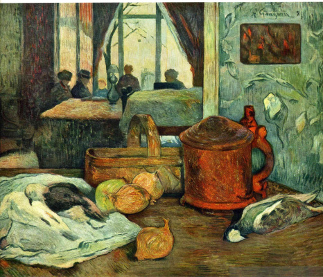 Paul Gauguin. Still life of onions and pigeons and room interior in Copenhagen