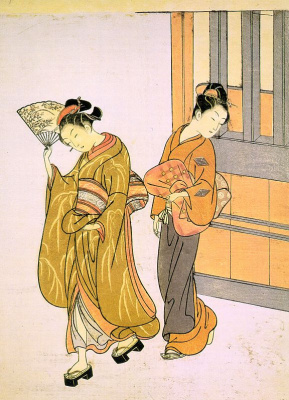 "Suzuki Harunobu. Going for a walk. The series ""Eight scenes in the living room"""