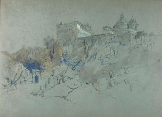 John Ruskin. Chigi Palace and Church of Bernini, Ariccia, Italy