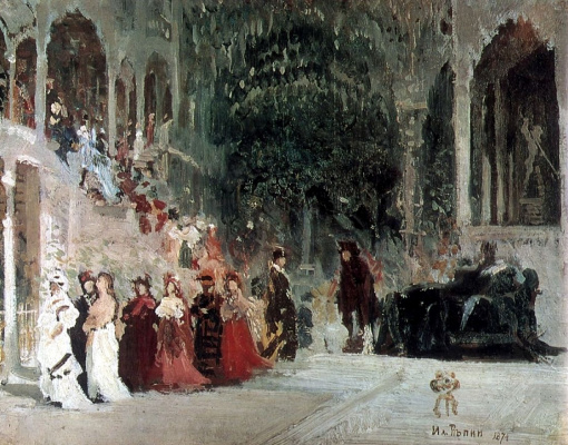 Ilya Efimovich Repin. A scene from the ballet. Sketch