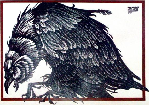 "Vladimir Kataev. ""Bird angry"", linocut, 45Х65,5 , 2012"