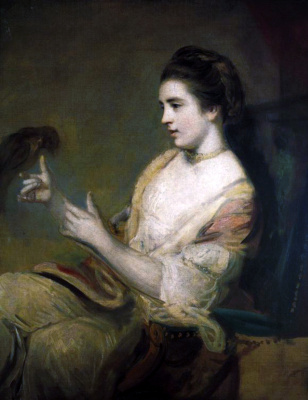 Joshua Reynolds. Portrait of Kitty Fisher with a parrot