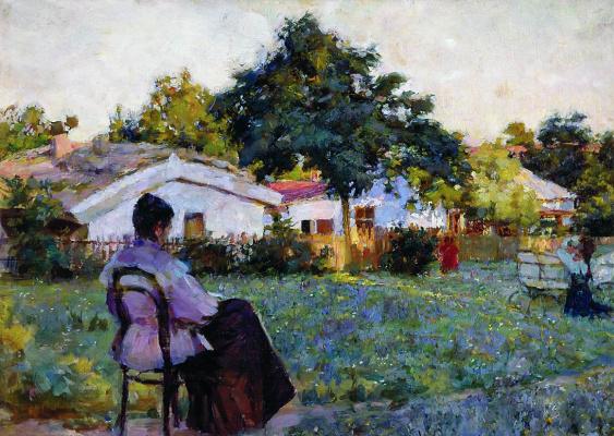 Кириак Константинович Костанди. На даче. Полдень. 1892  32 x 49