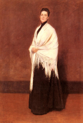 William Merritt Chase. Woman with white shawl. Portrait of Mrs To (maybe Emily Jewell Clark)