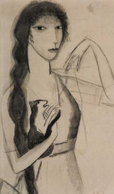 Мари Лорансен. Автопортрет с кошкой