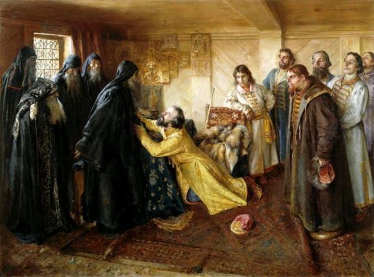 Клавдий Васильевич Лебедев. Царь Иван Грозный просит игумена Корнилия постричь его в монахи