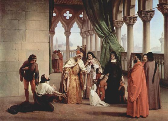 Francesco Ayets. Two Foscari (Doge Francesco Foscari expels Jacopo's son)