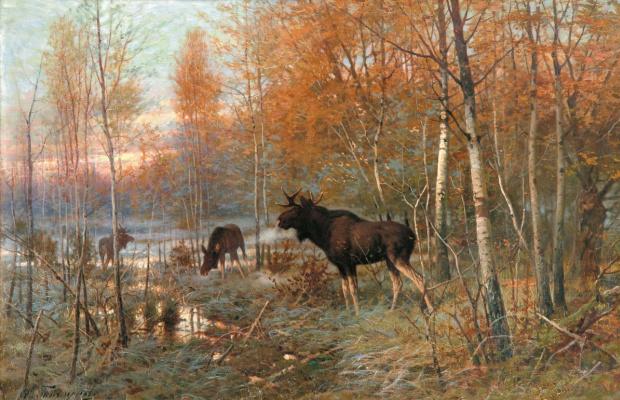 Eugene Alexandrovich Tikhmenev. Autumn forest with elks. 1890