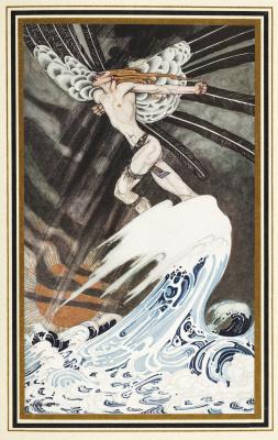 """Кей Нильсен. Северный ветер идет по морю. Иллюстрация к сборнику сказок """"На восток от солнца, на запад от луны"""""""