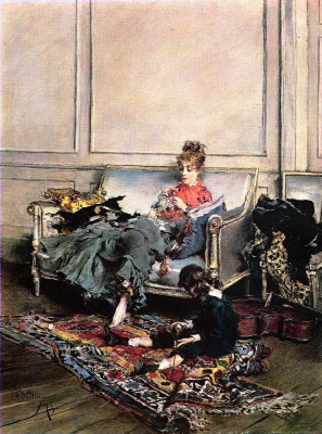 Giovanni Boldini. Music lesson (Young woman knitting)