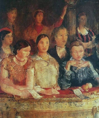 Yuri Ivanovich Pimenov. Workers of the Uralmash theater in a box. The left part of the triptych