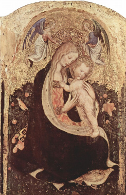 Antonio Pisanello. Madonna with a quail scene: Madonna with two angels and quail