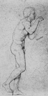 Johann Friedrich Overbeck. Standing nude sitter in profile