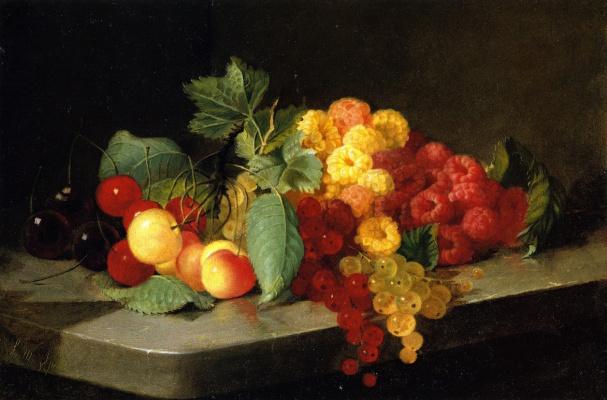 Лилли Мартин Спенсер. Натюрморт с ягодами и смородиной