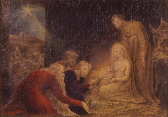 William Blake. The adoration of the kings baby Jesus
