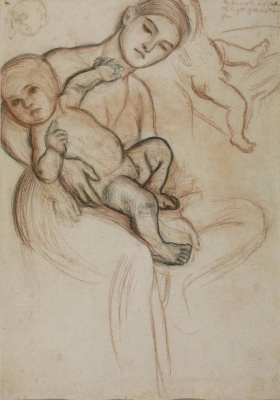 """Уильям Холман Хант. Женщина с младенцем. Эскиз Богородицы для картины """"Триумф Невинных"""""""