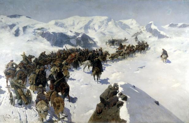 Franz Alekseevich Roubaud. Transition Prince Argutinsky through the Caucasian ridge