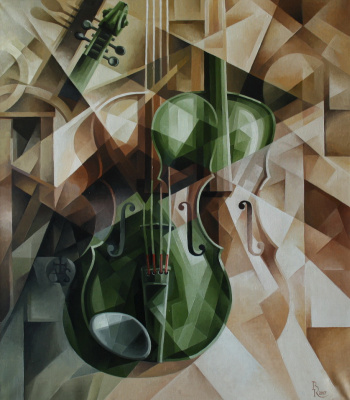 Vasily Krotkov. Green violin. Post-kubofuturizm