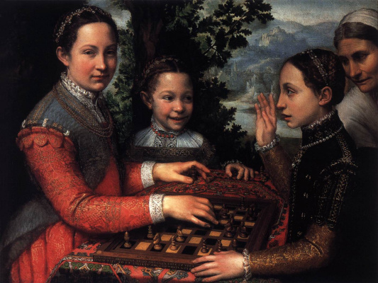 Sofonisba Anguissola. The sisters of the artist Lucia, Minerva and Europe play chess
