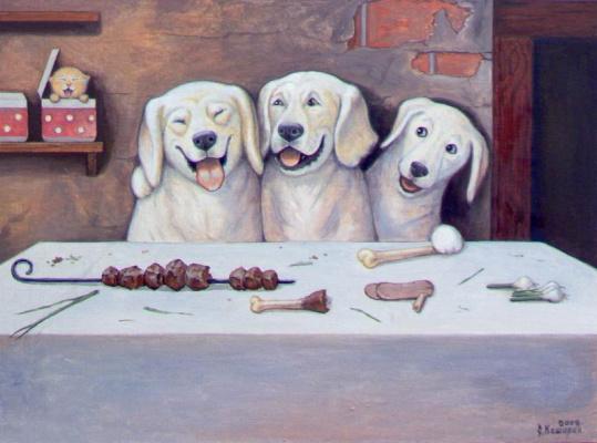 Stepan Vladimirovich Kashirin. Dog at the table