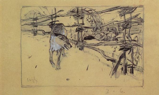Valentin Aleksandrovich Serov. The wolf and the shepherds